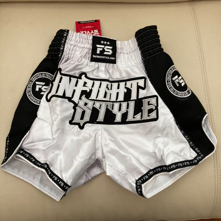 Infightstyle white boxing shorts