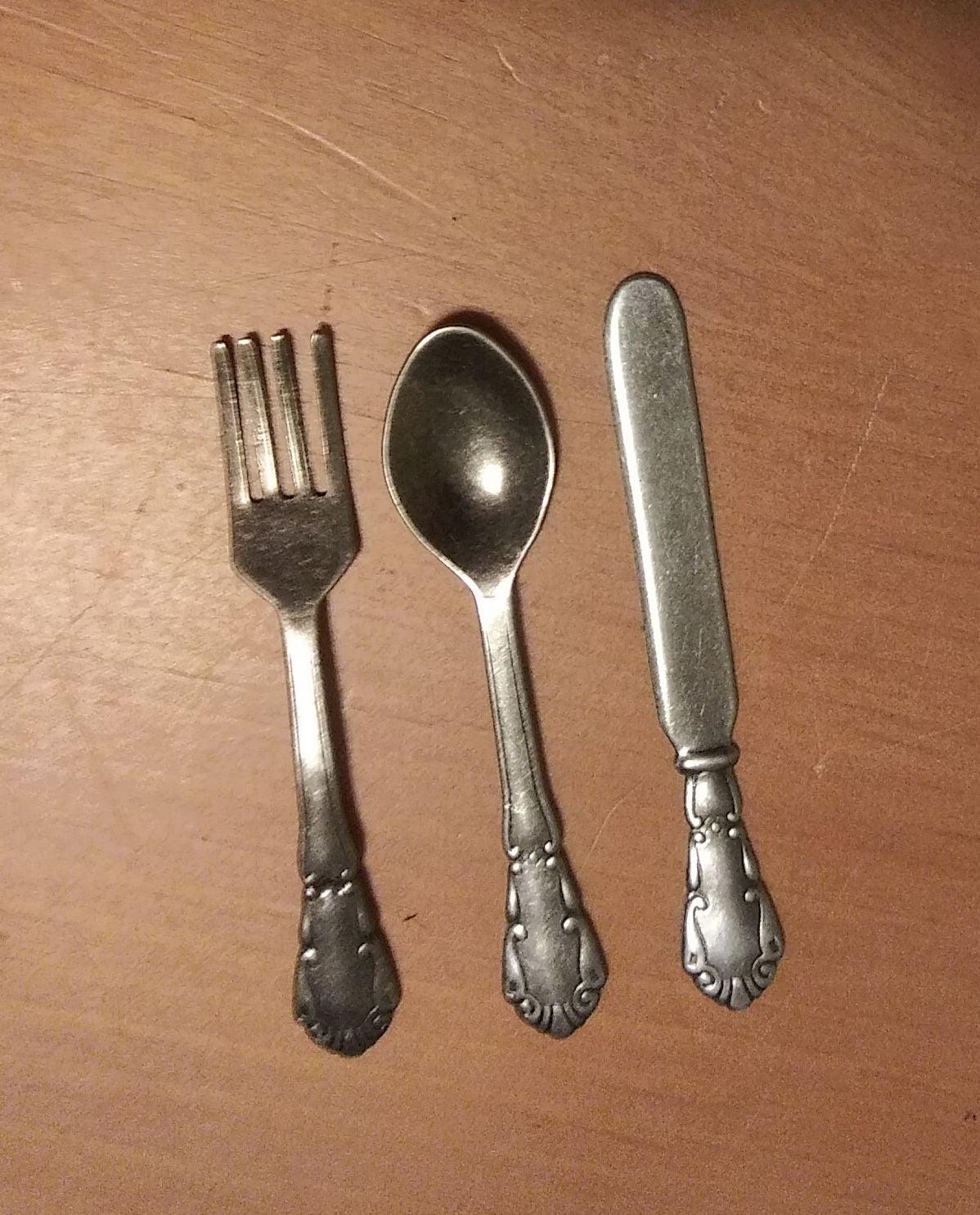 Miniature fork, spoon & butter knife