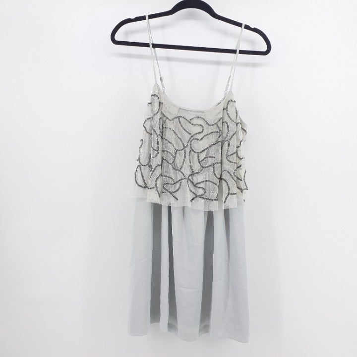 Silence + Noise Silver Gray Party Dress