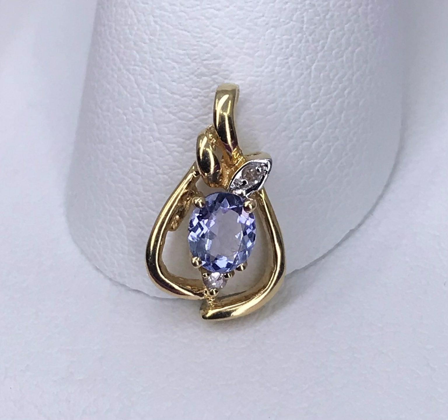 14k SOLID Gold Tanzanite Diamond Pendant