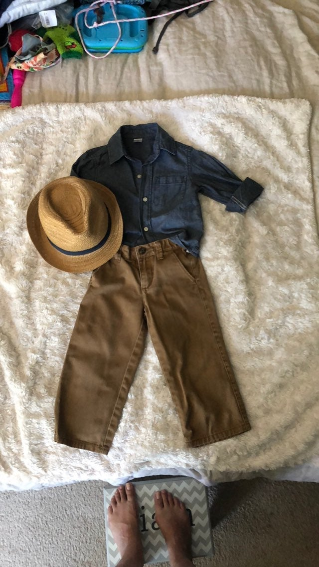 Boys dress shirt, pants and hat outfit 2