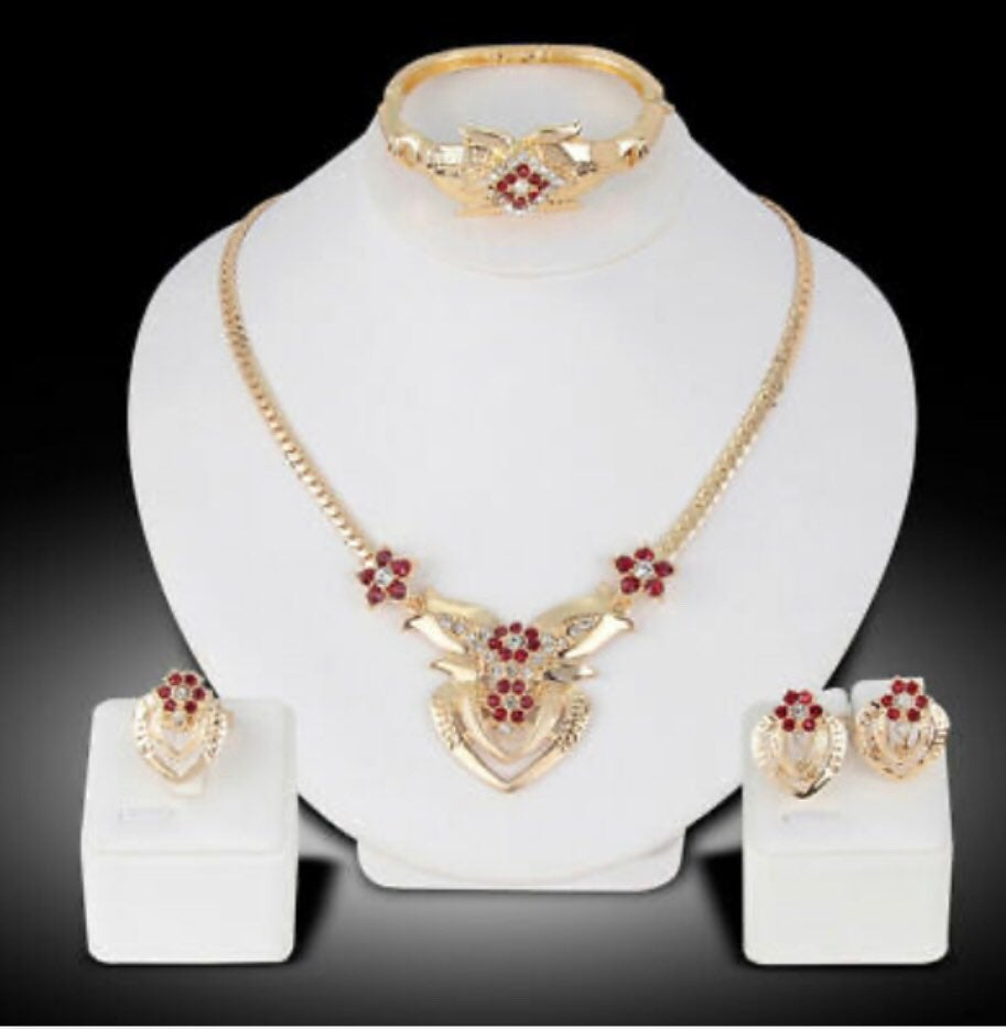 Gold Plated Rhinestone embeded Flowers
