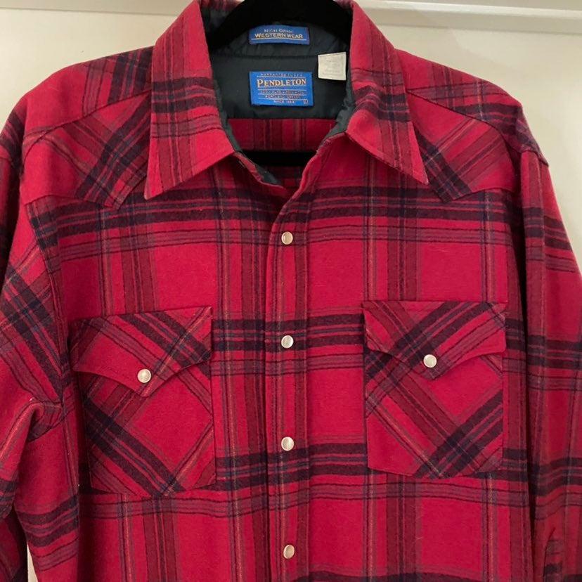 Shirt pendleton L red plaid wool flannel