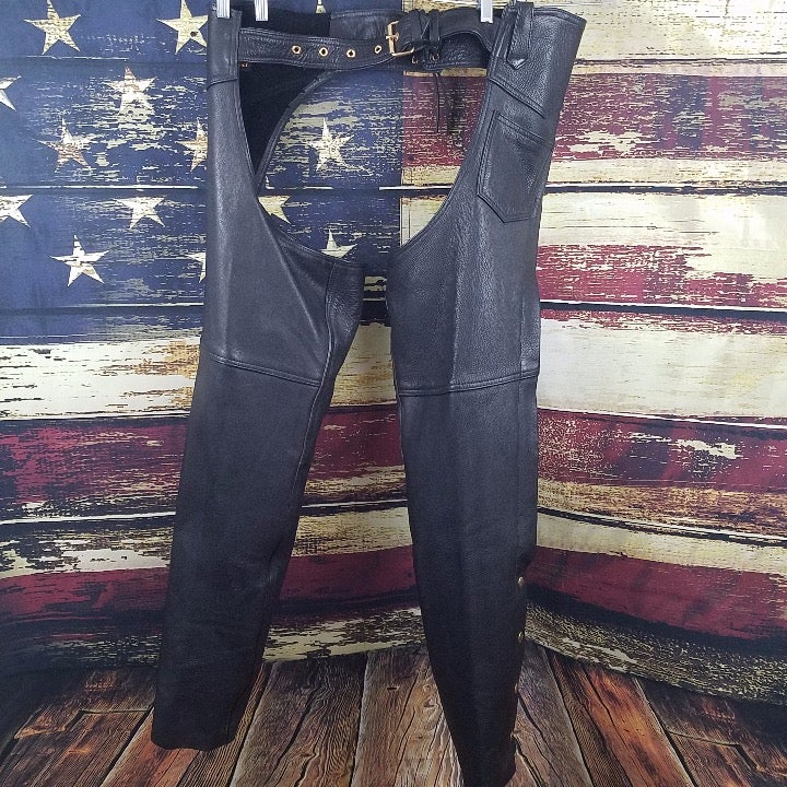 HUDSON BLACK LEATHER MOTORCYCLE CHAPS