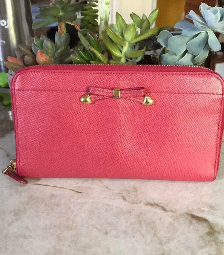 Prada pink saffiano zip around wallet