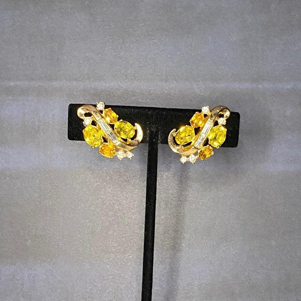 Signed Trifari Rhinestone Earrings