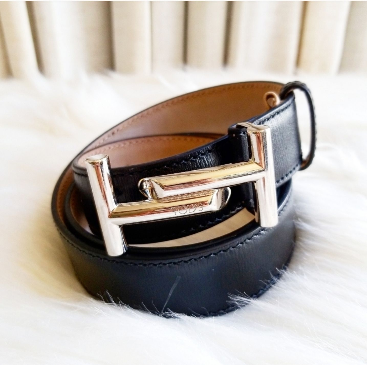 Tods Silver and BLACK leather Belt