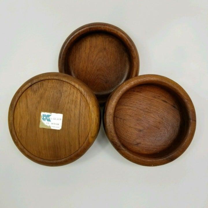 Lot Of 3 Vtg Kalmar Teak Solid Wood Bowl