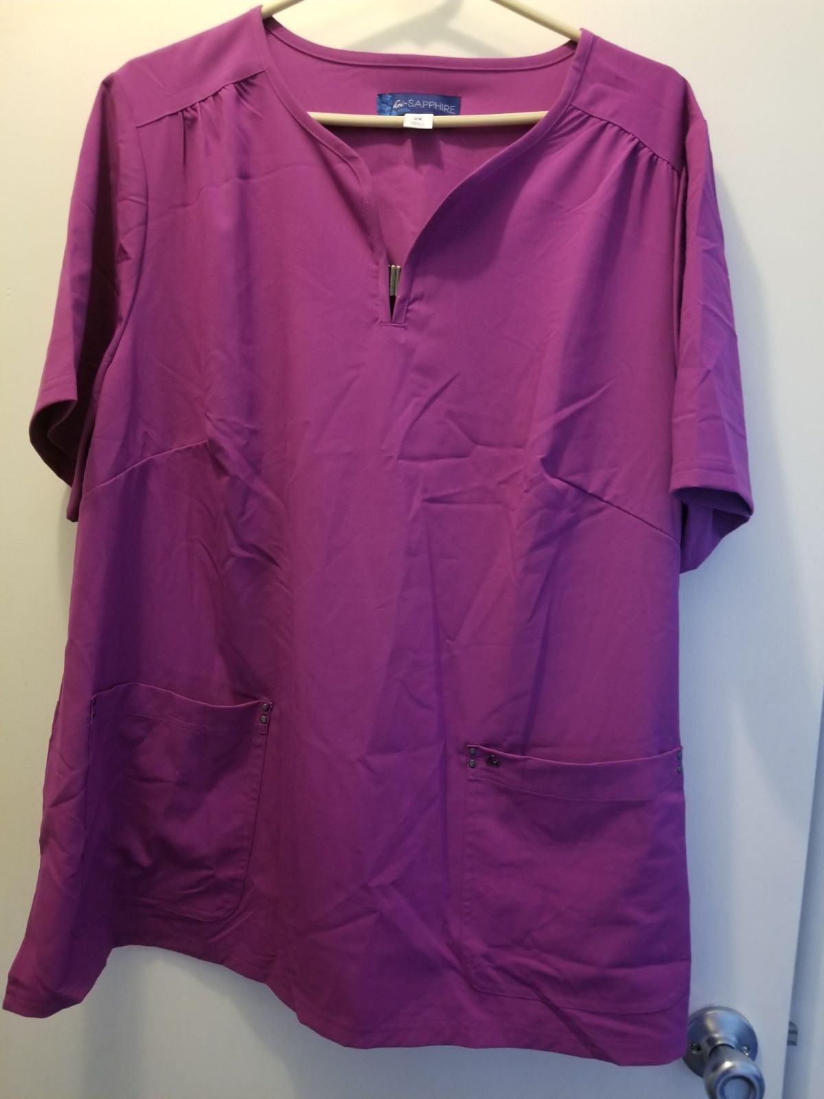 Koi Saphire scrub top 2X purple
