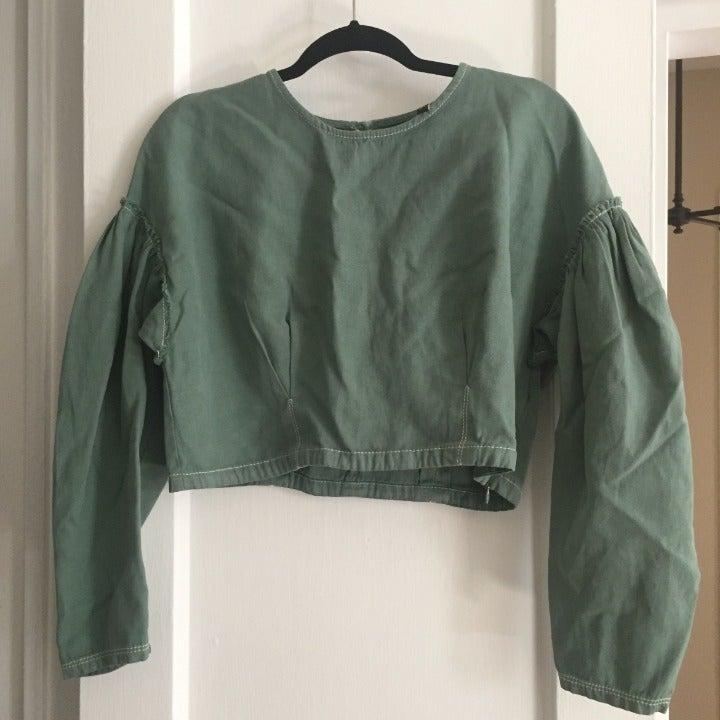 Zara Green Cropped Cotton Top - Size L