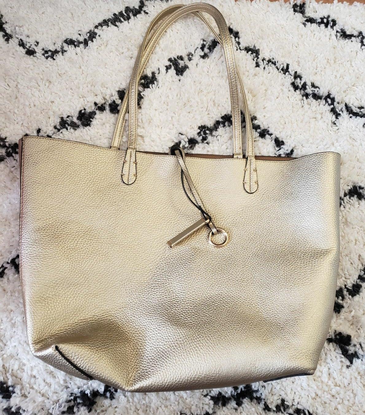 Designer Metallic Large Tote Handbag