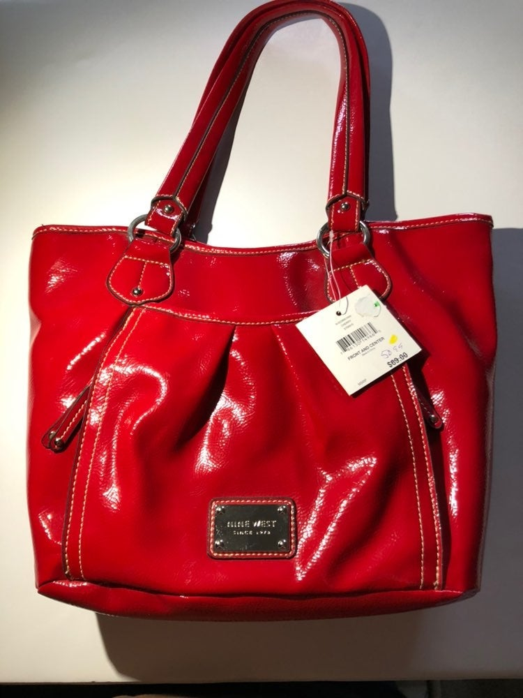 Nine west red two handle purse