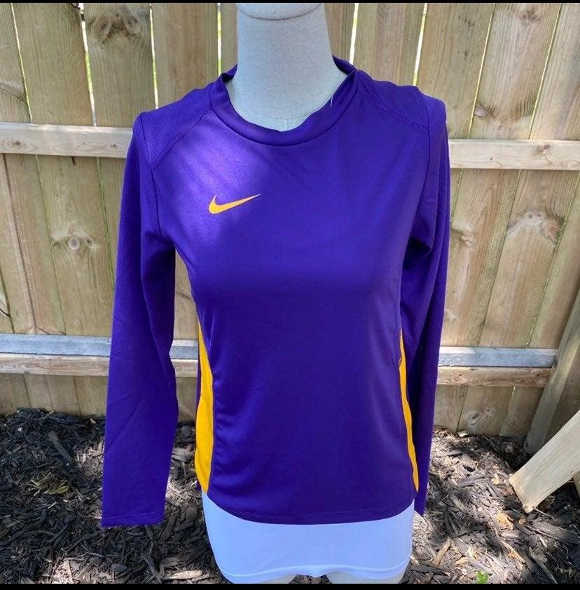 Nike dri fit purple gold XS long sleeve