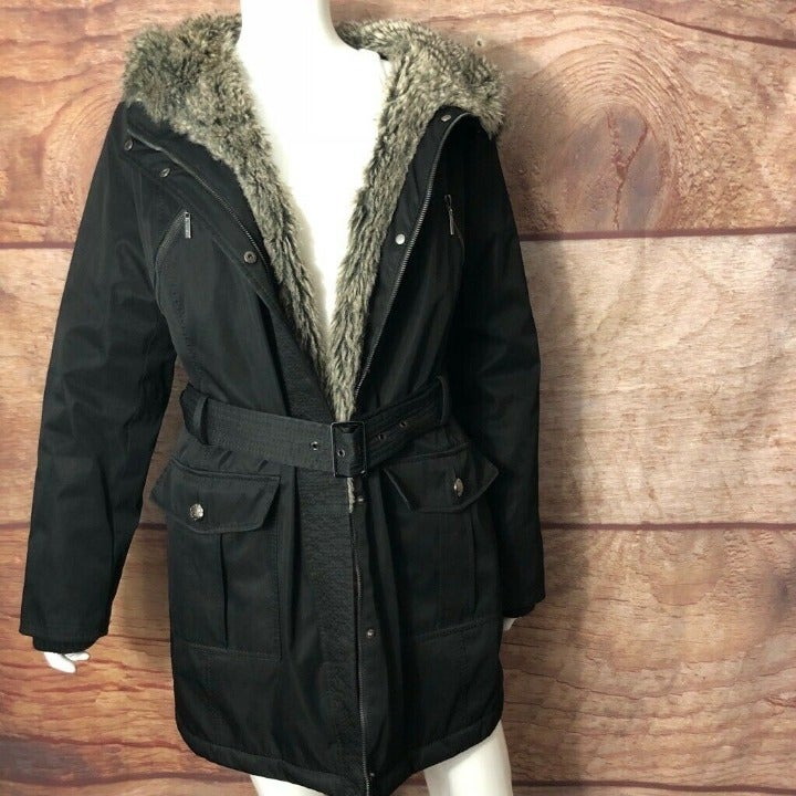 Kensie Womens Hooded Coat Black Zip Up