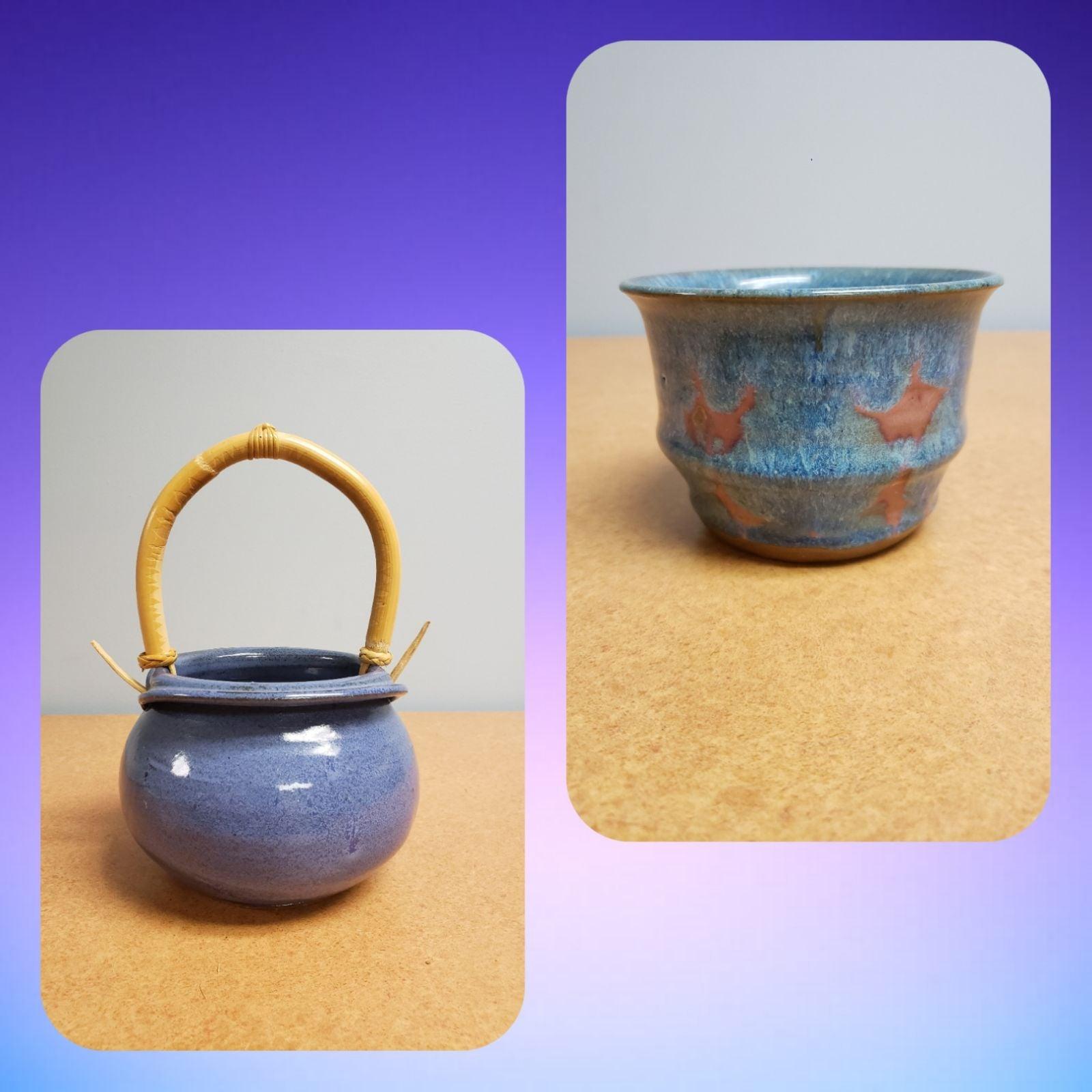 Stoneware bowl and basket