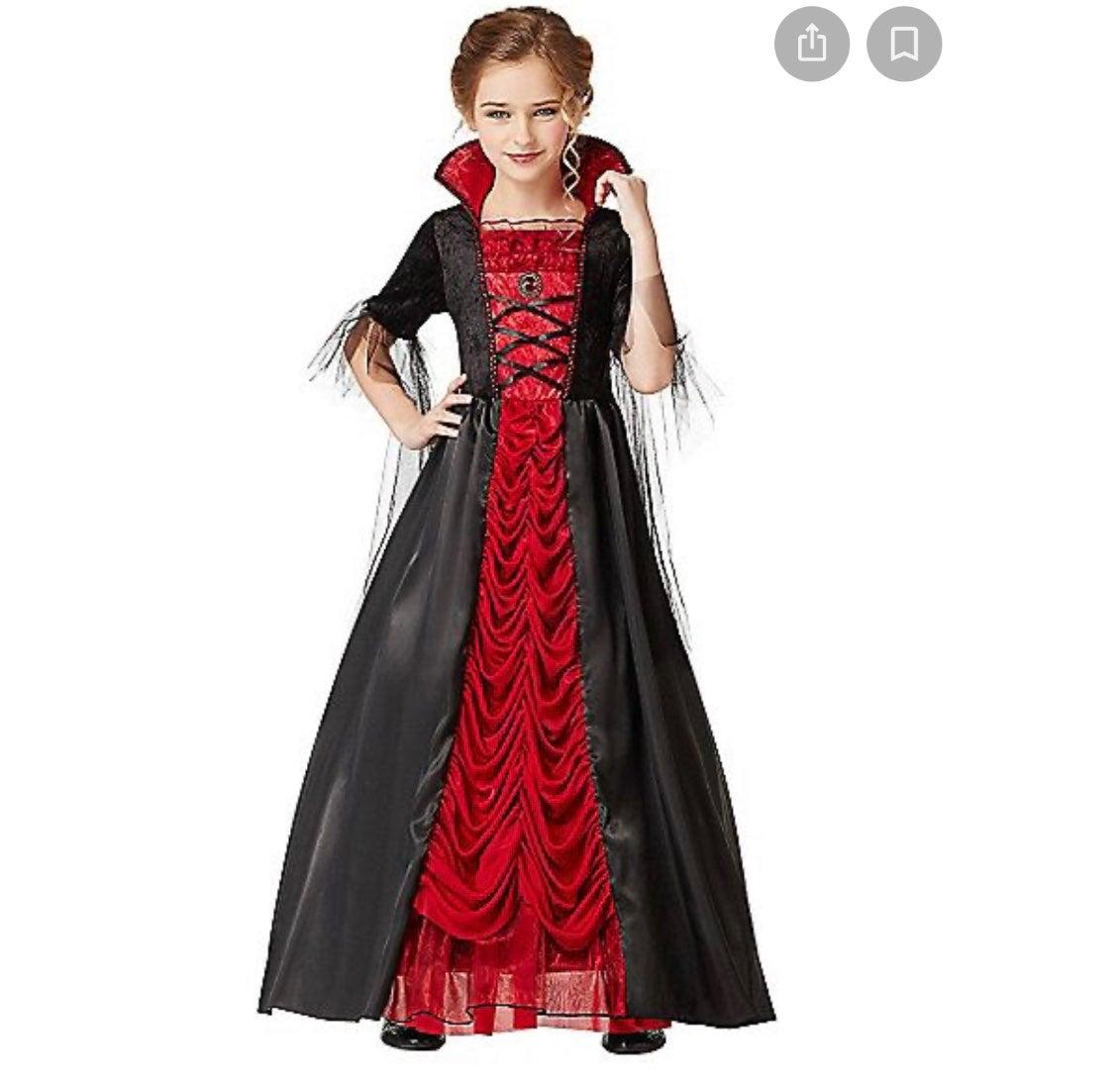 Victorian girl Vampiress Costume  red bl