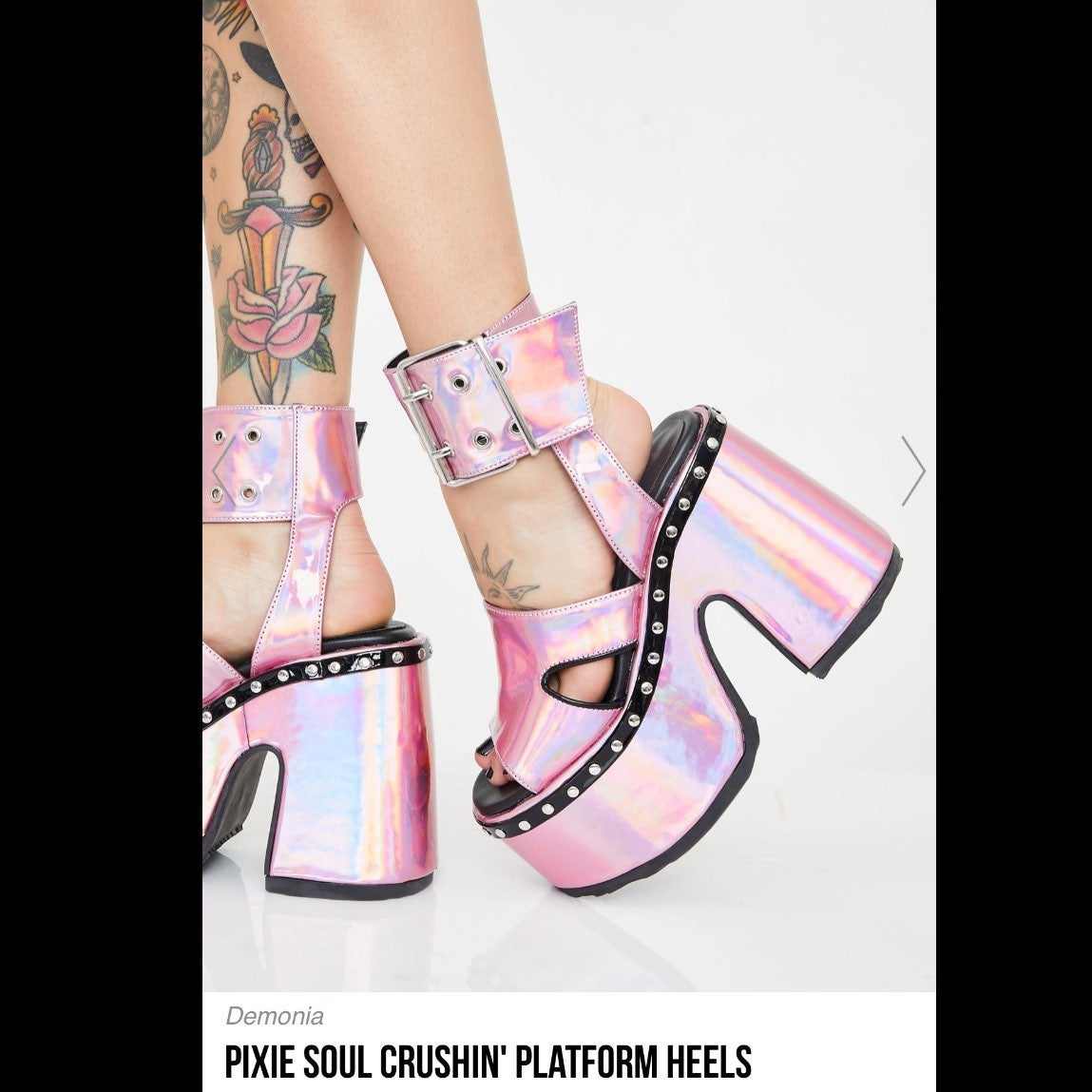 Demonia Pink Holographic platform heels