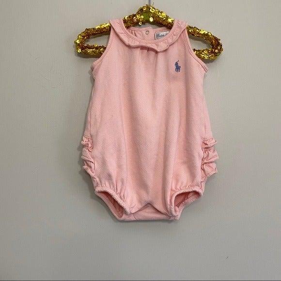 Ralph Lauren Pink Jersey Ruffle Sunsuit