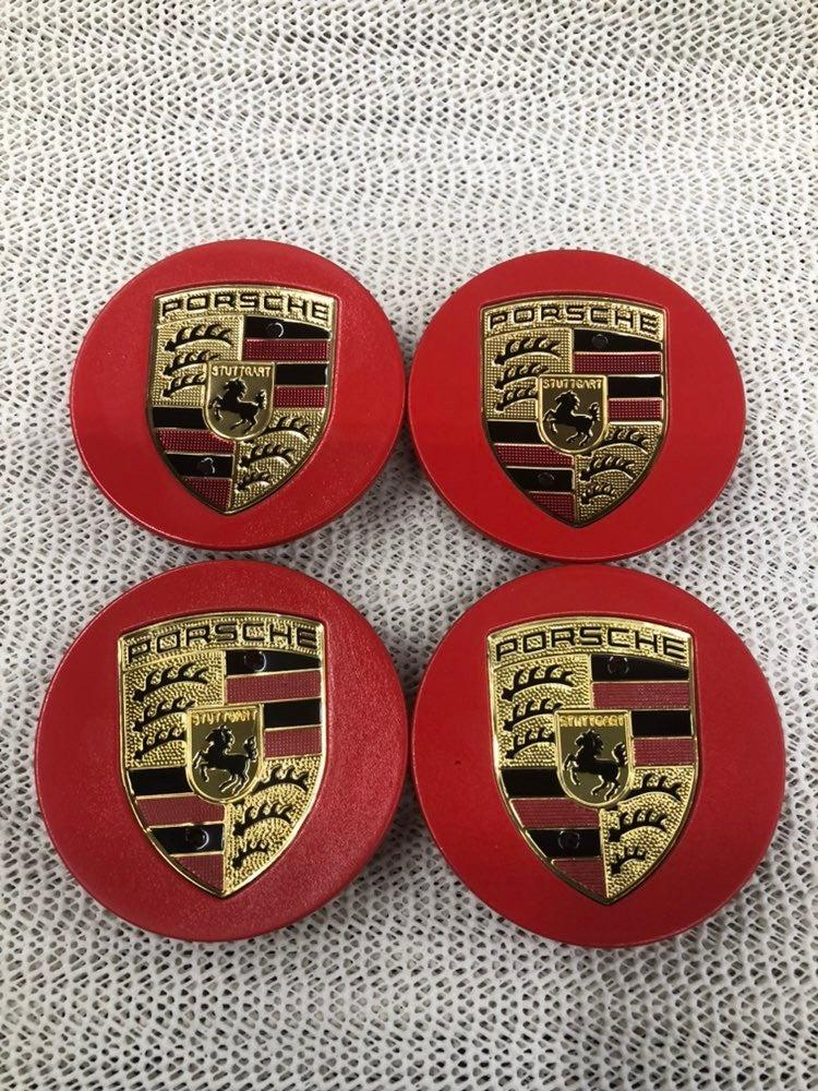 4 center cap  Porsche 76 mm new red