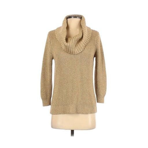 Michael Kors MK Gold Metallic 3/4 Sleeve Cowl Neck Sweater Women's Medium
