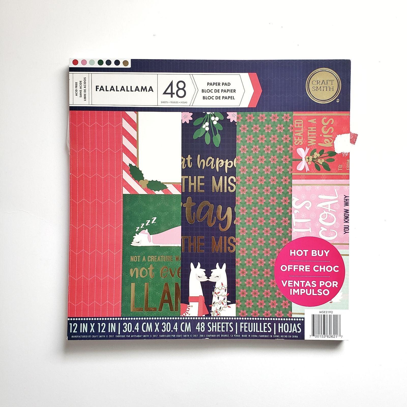 30 Christmas Lama Scrapbook Paper Sheets
