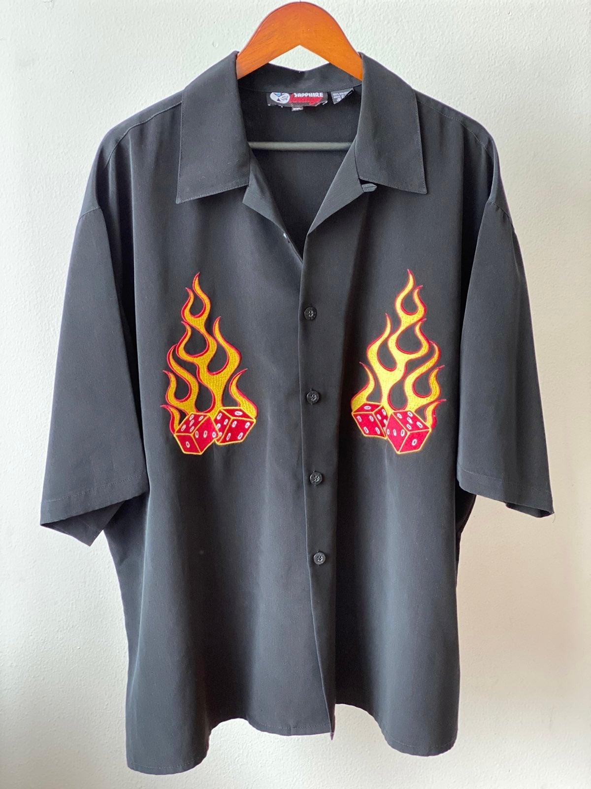 Vtg 90s Flaming Dice Shirt Sz XXL