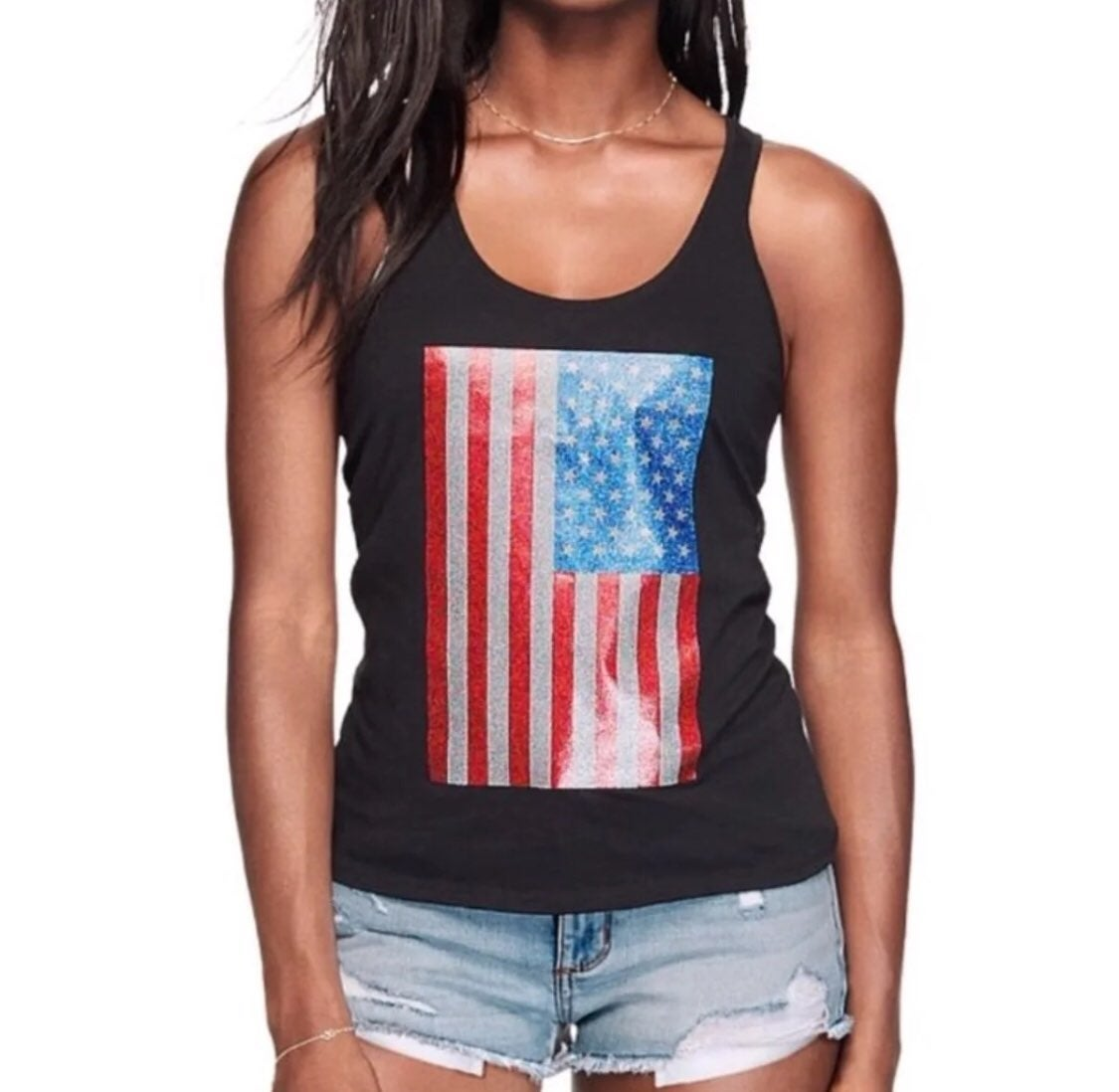 VS PINK AMERICAN FLAG RACERBACK TANK