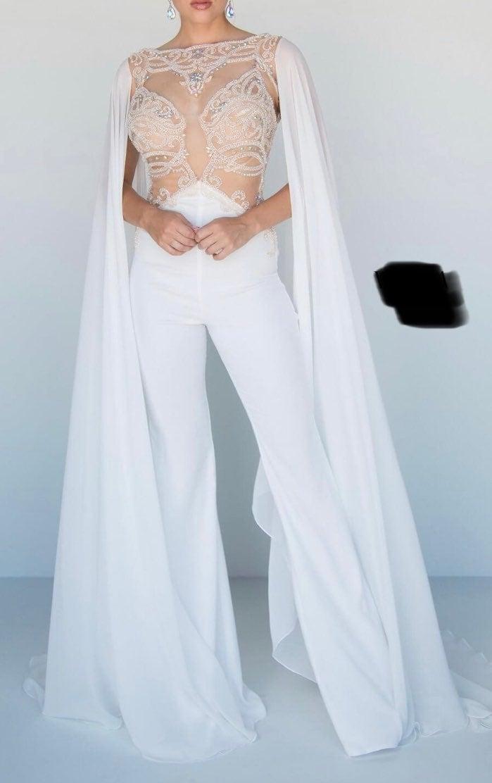 White vienna prom jumpsuit size 6