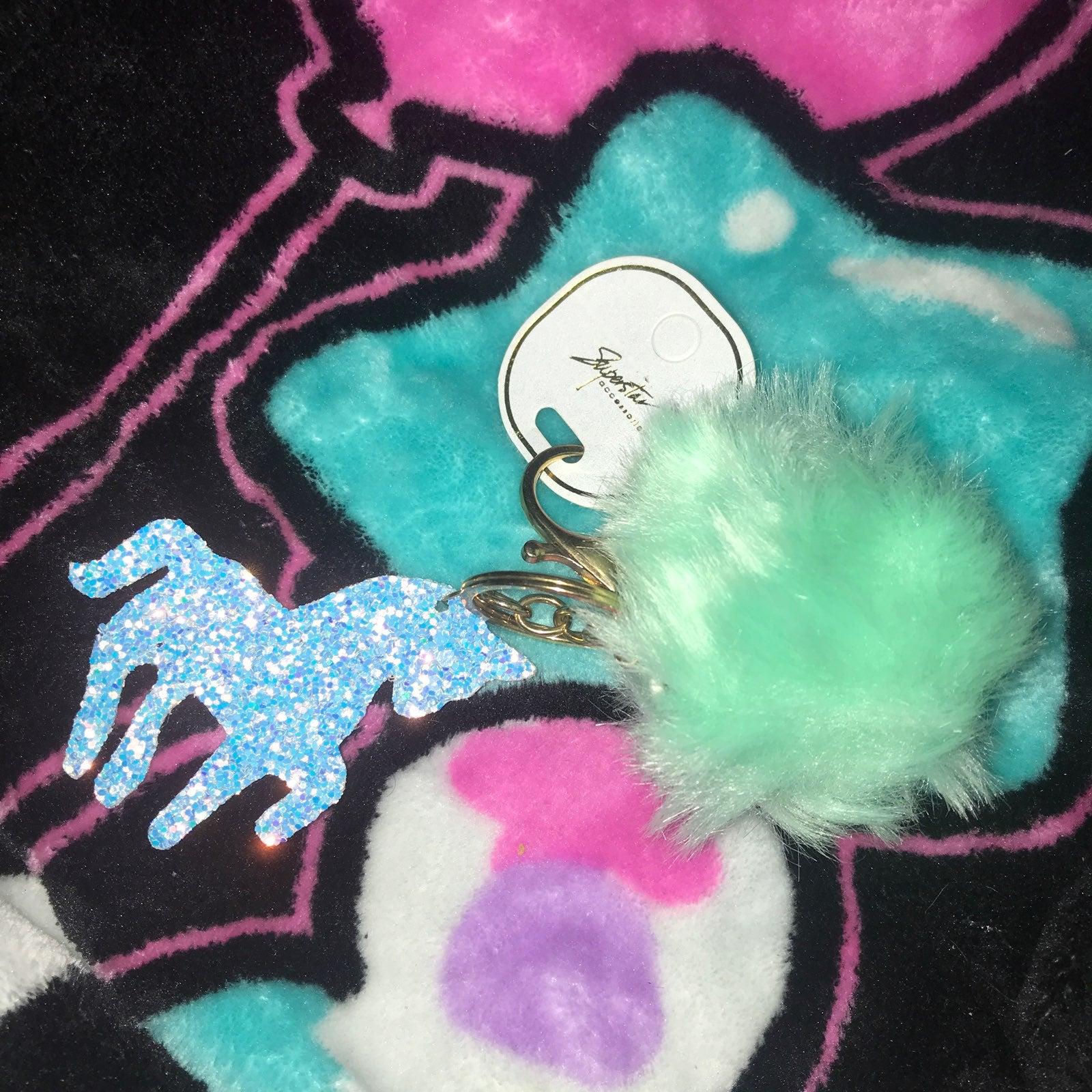 Kawaii Unicorn fluff ball keychain