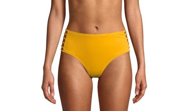 NWT Yellow Ribbed Bikini Bottom