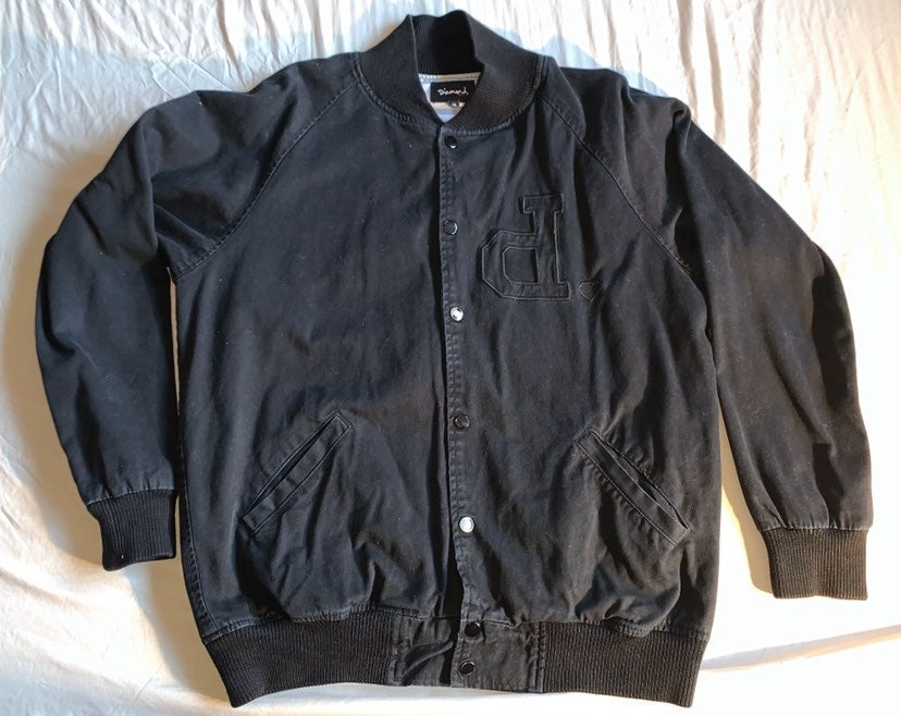 Diamond Varsity Jacket Button Up Distres