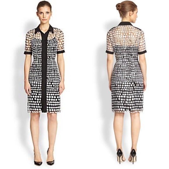 Kay Unger Polka Dot Collared Shirt Dress
