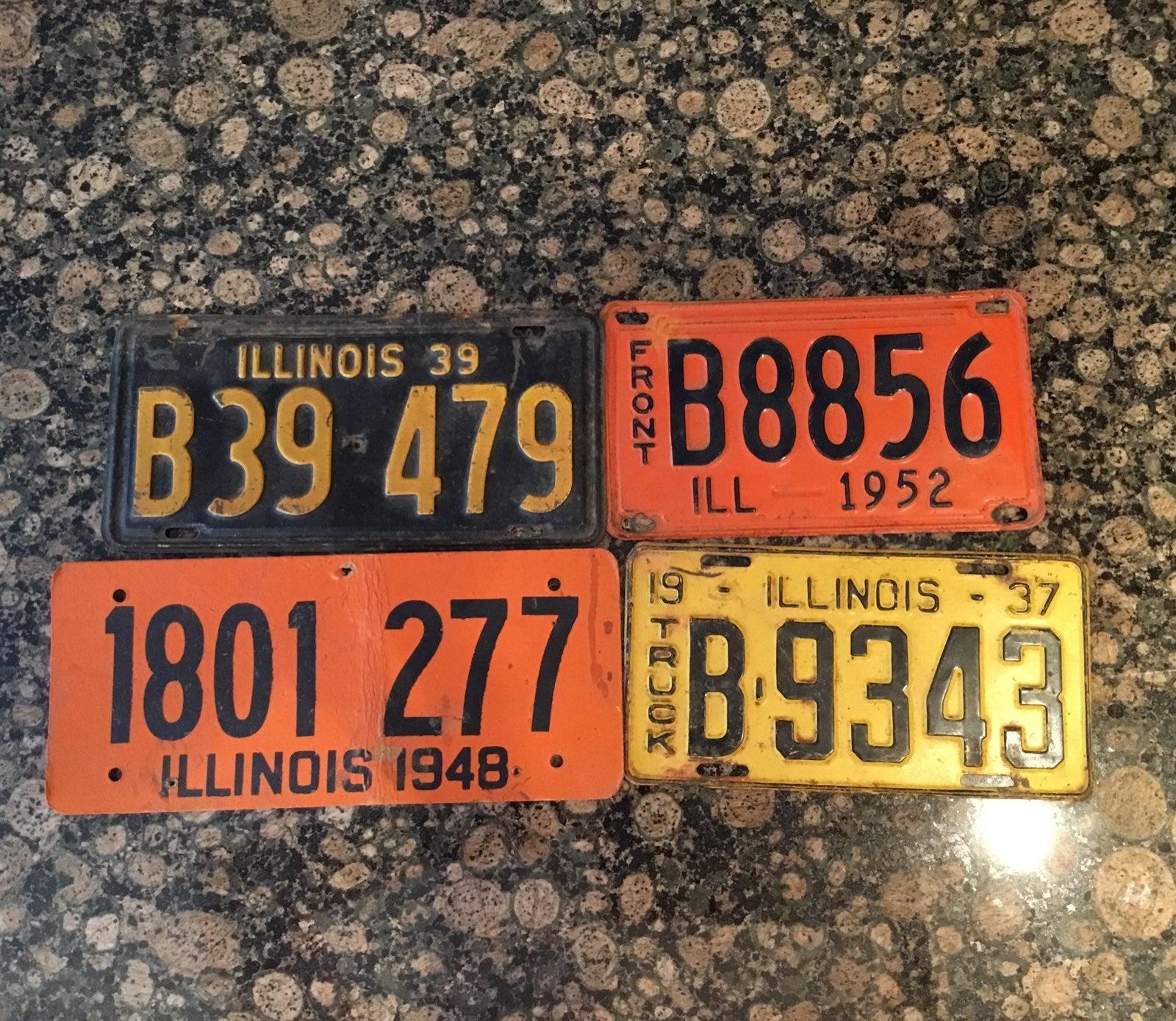 (RARE) 4 Vintage Illinois License Plates