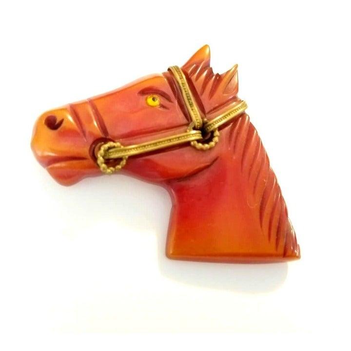 Bakelite Carved Horse Head Brooch 1930s