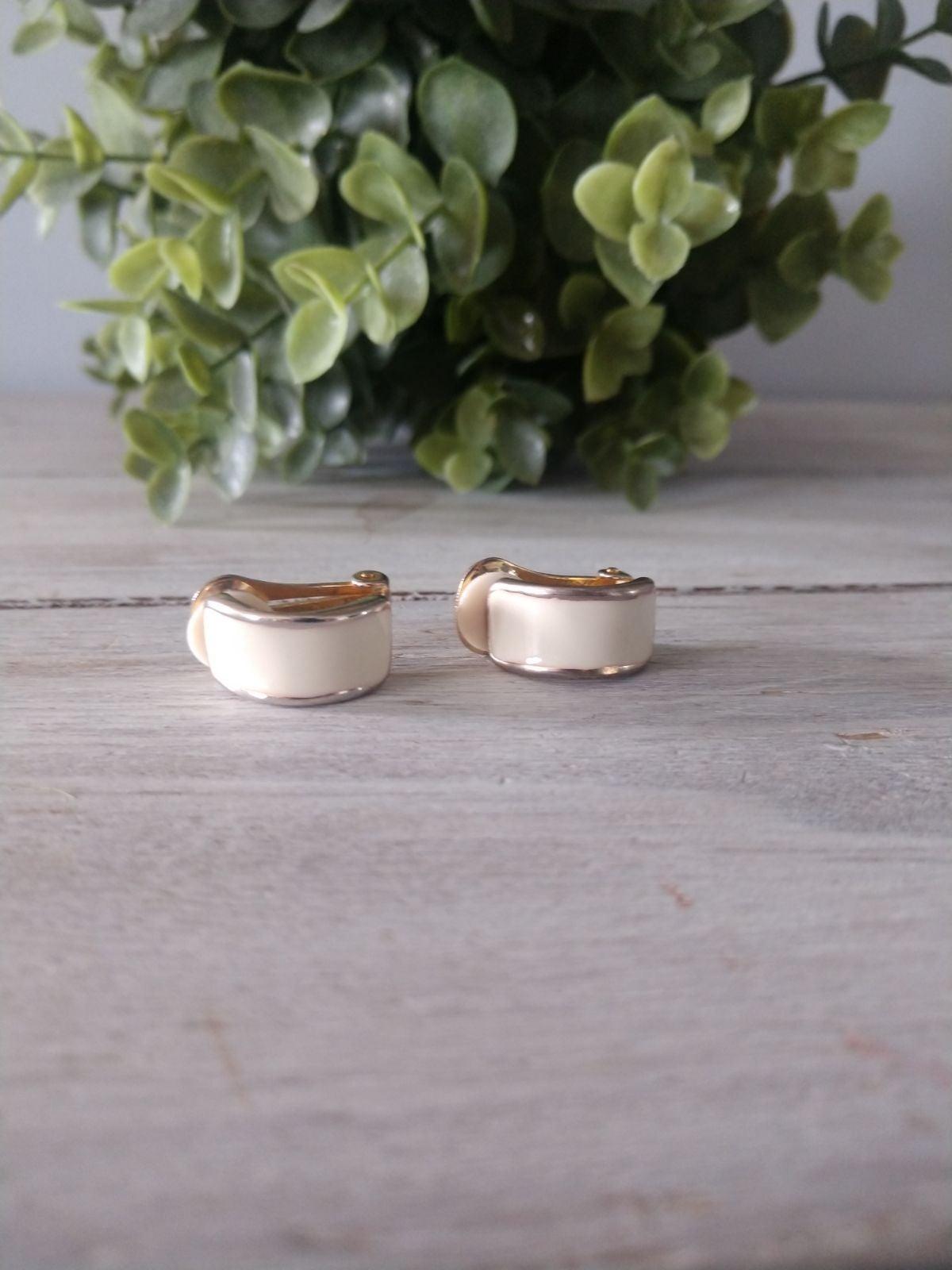 Vintage White Enamel Gold Earrings Clip