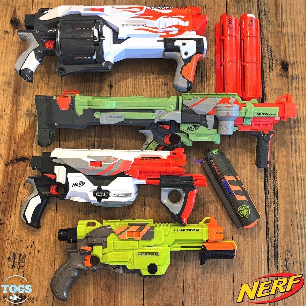 4 NERF Vortex Blasters Nitron Revonix360