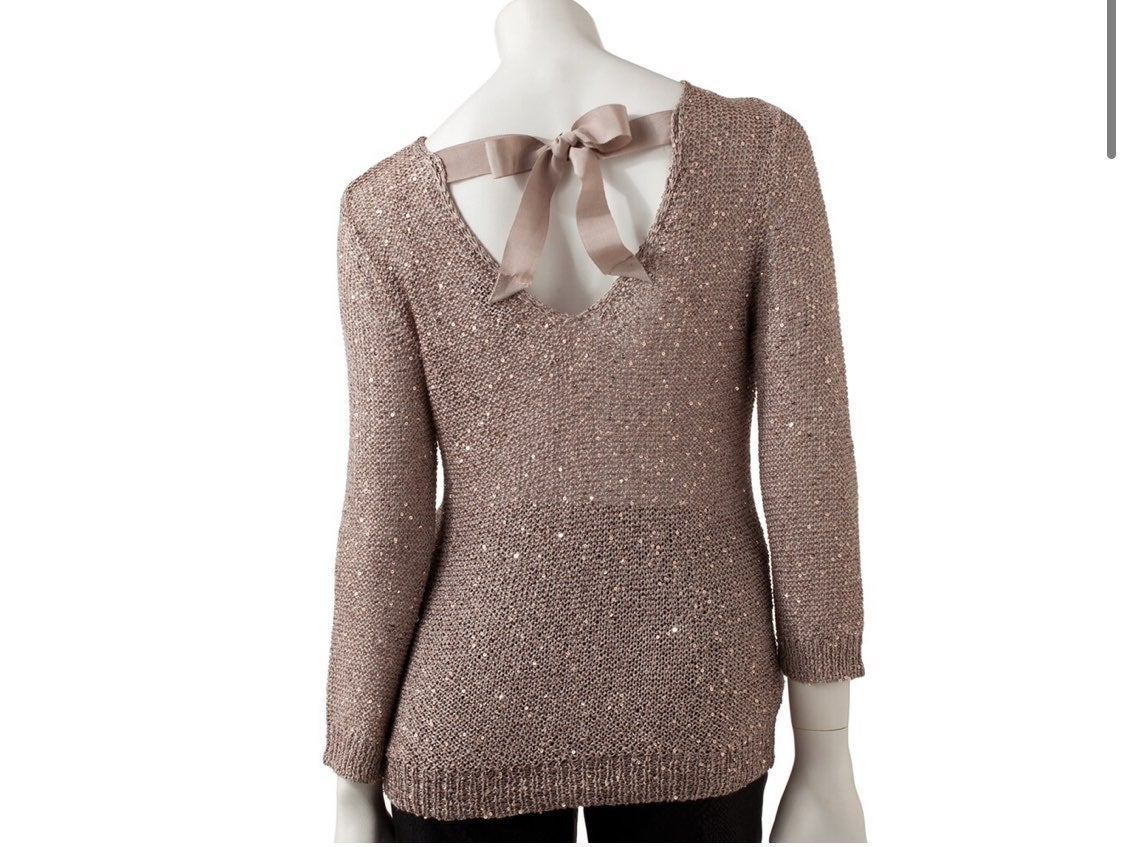 JLo sequin sweater blouse