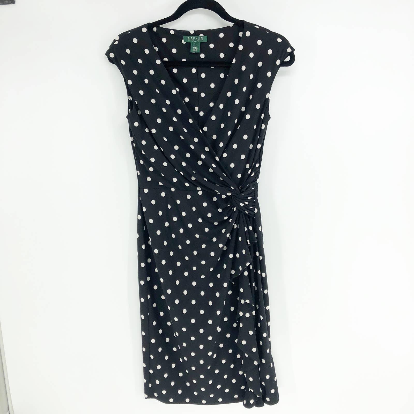 Ralph Lauren Black Cream Polka Dot Dress