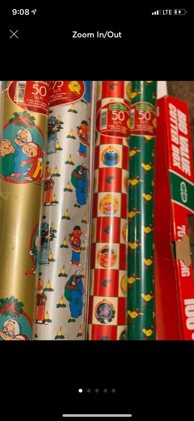 5 vintage new rolls of wrapping paper