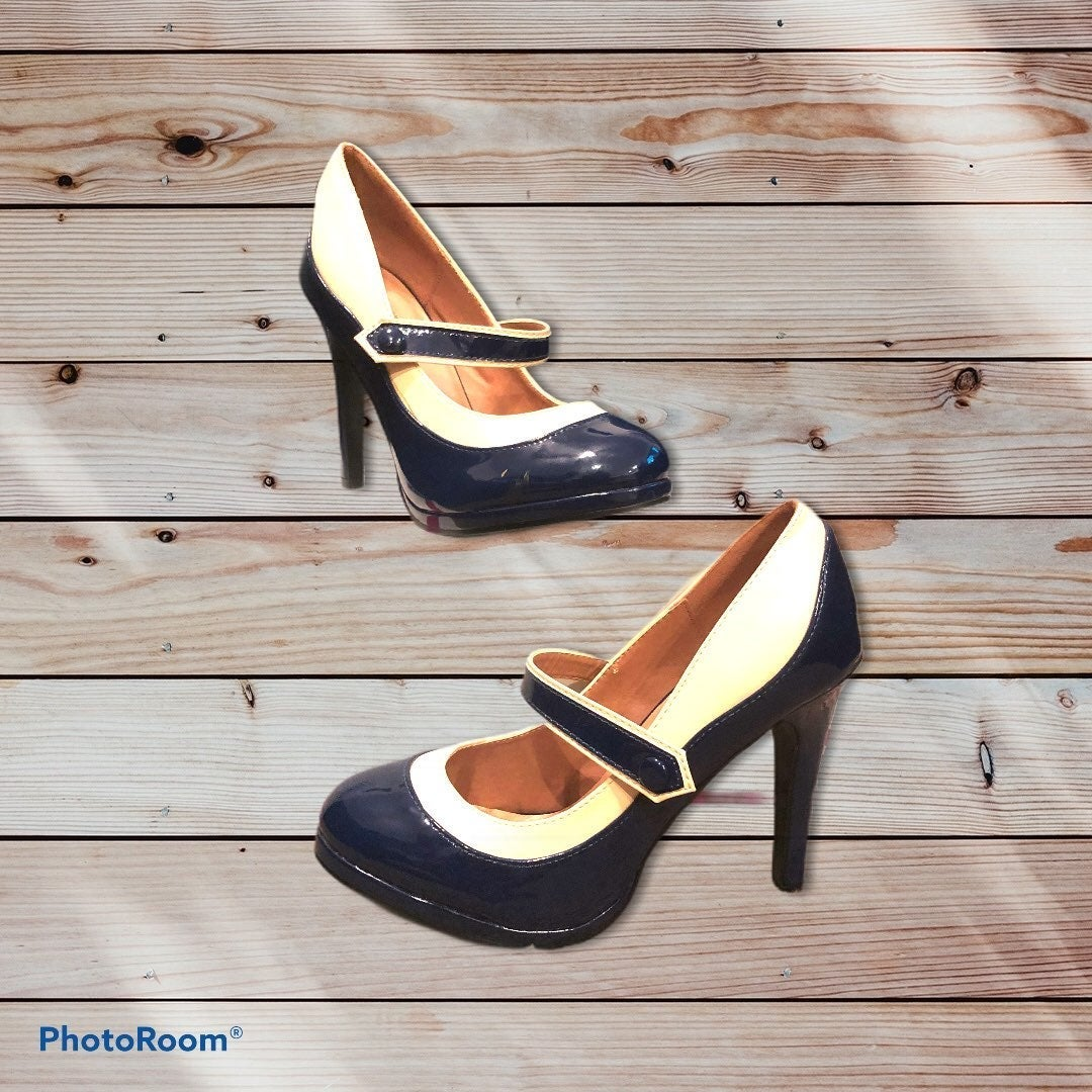 Patent Two-Tone Pin-Up Mary Jane Pumps 8
