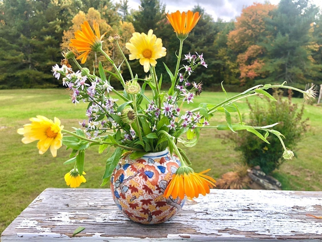 Asian Fall Foliage Painted Vase