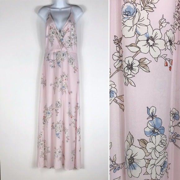 Lush Pale Pink Floral Maxi Dress
