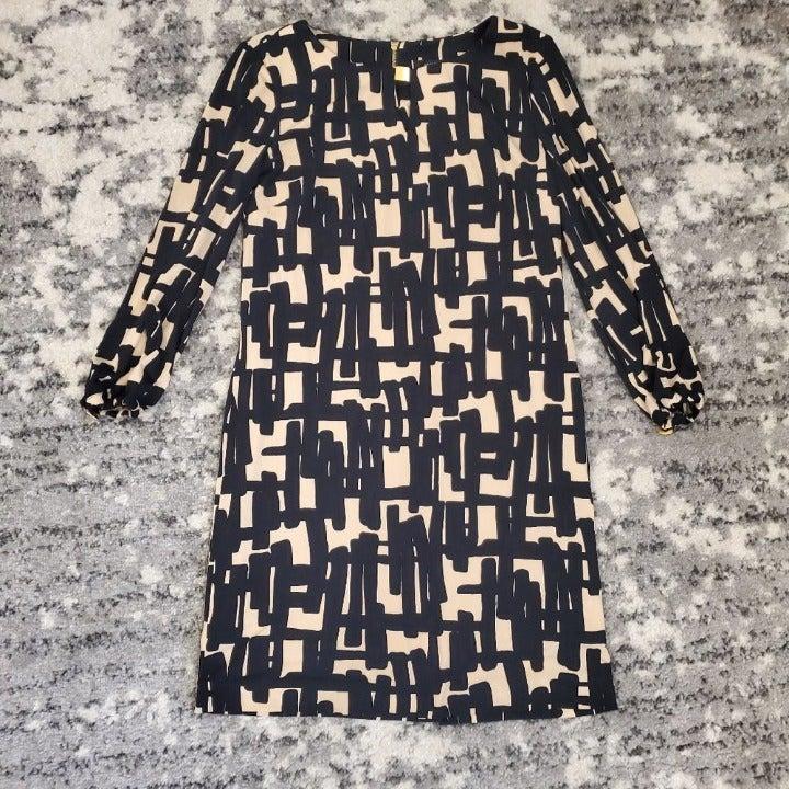 Tahari Women's Black Beige 3/4 Sleeve