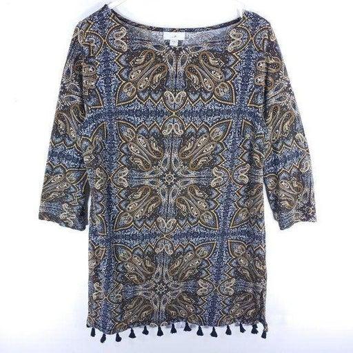 J. Jill Tasseled Paisleyprint Knit Tunic