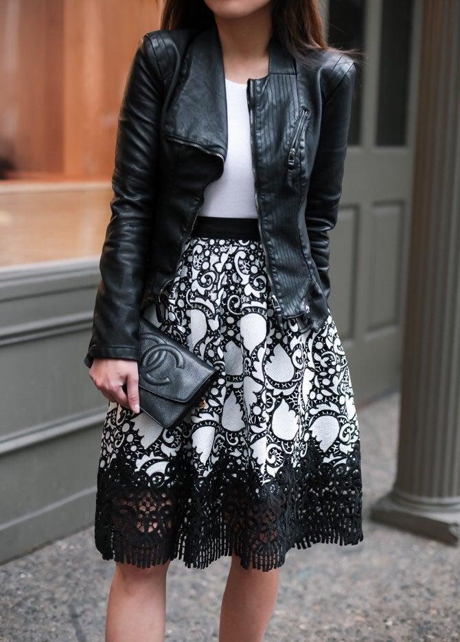 Ann Taylor Full Floral Crochet Skirt 10P