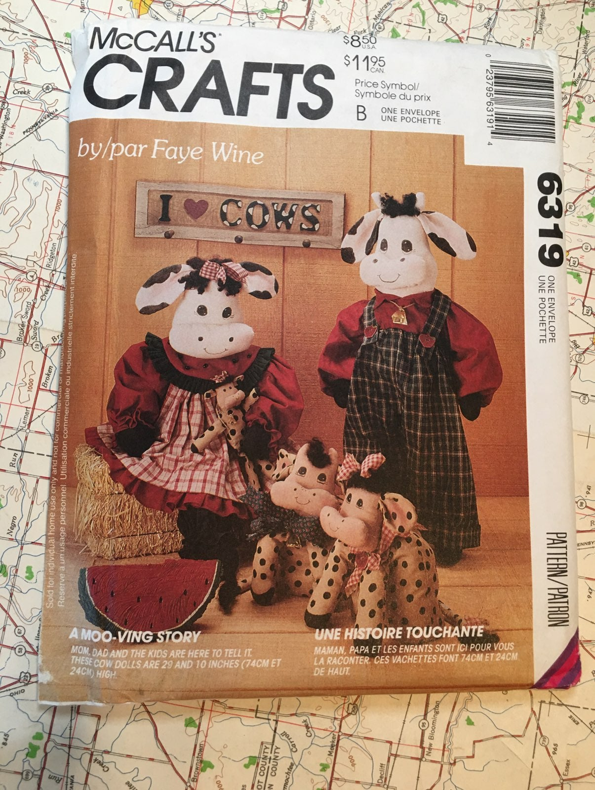 Pattern 1993 McCall's Crafts, Cow dolls