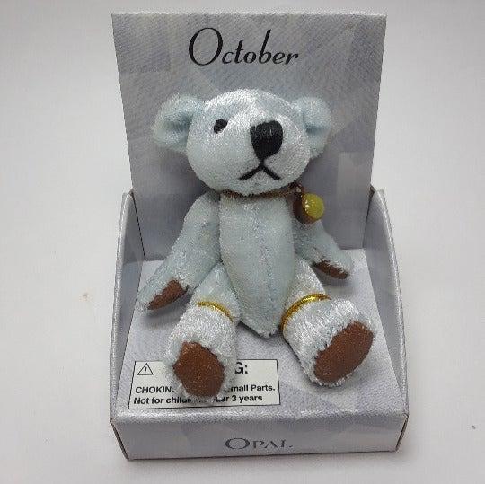 RUSS OCTOBER OPAL BIRTHSTONE SILVER 3'' BEAR (A3)
