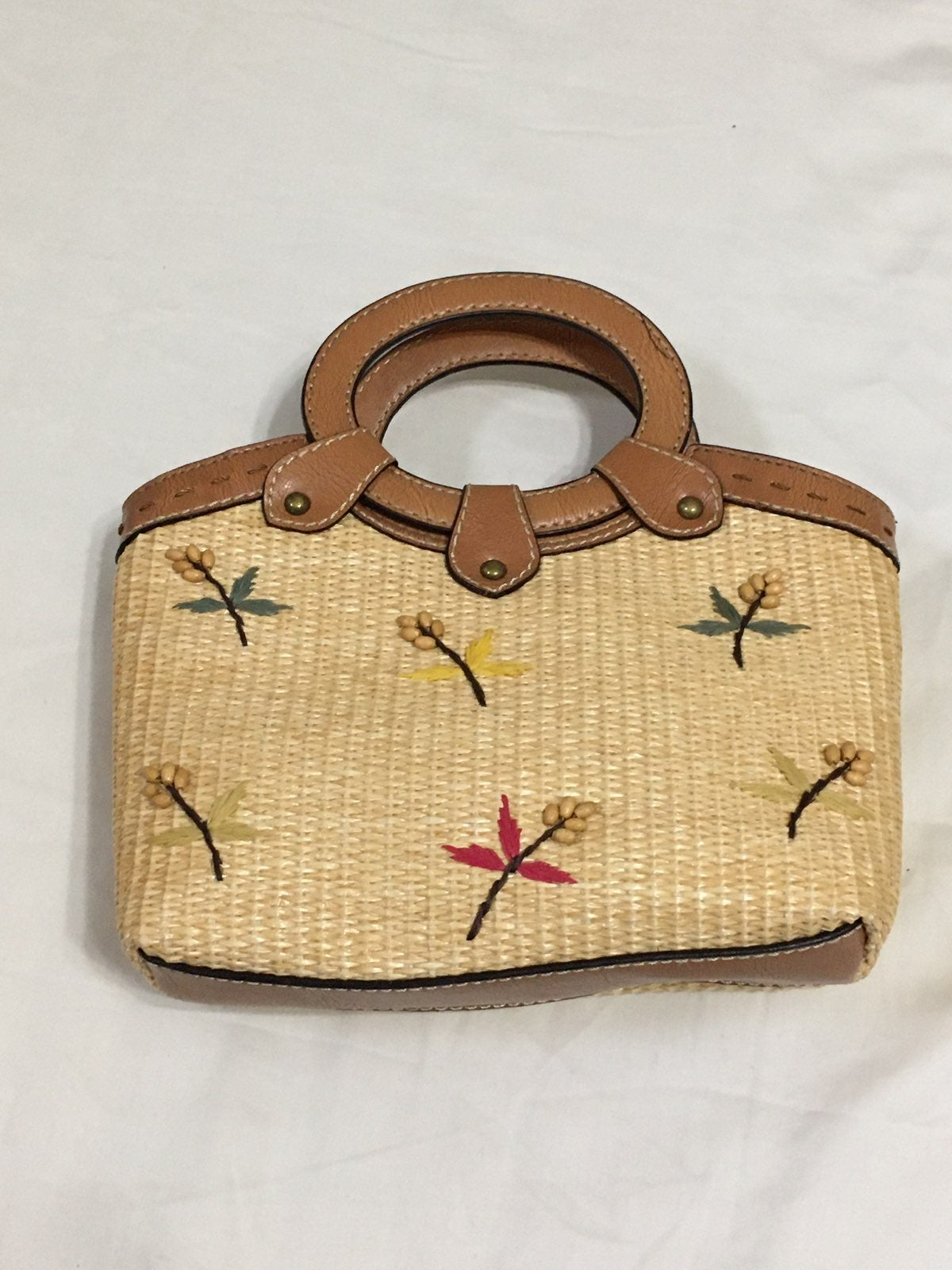 Embroidered Woven Straw Handbag