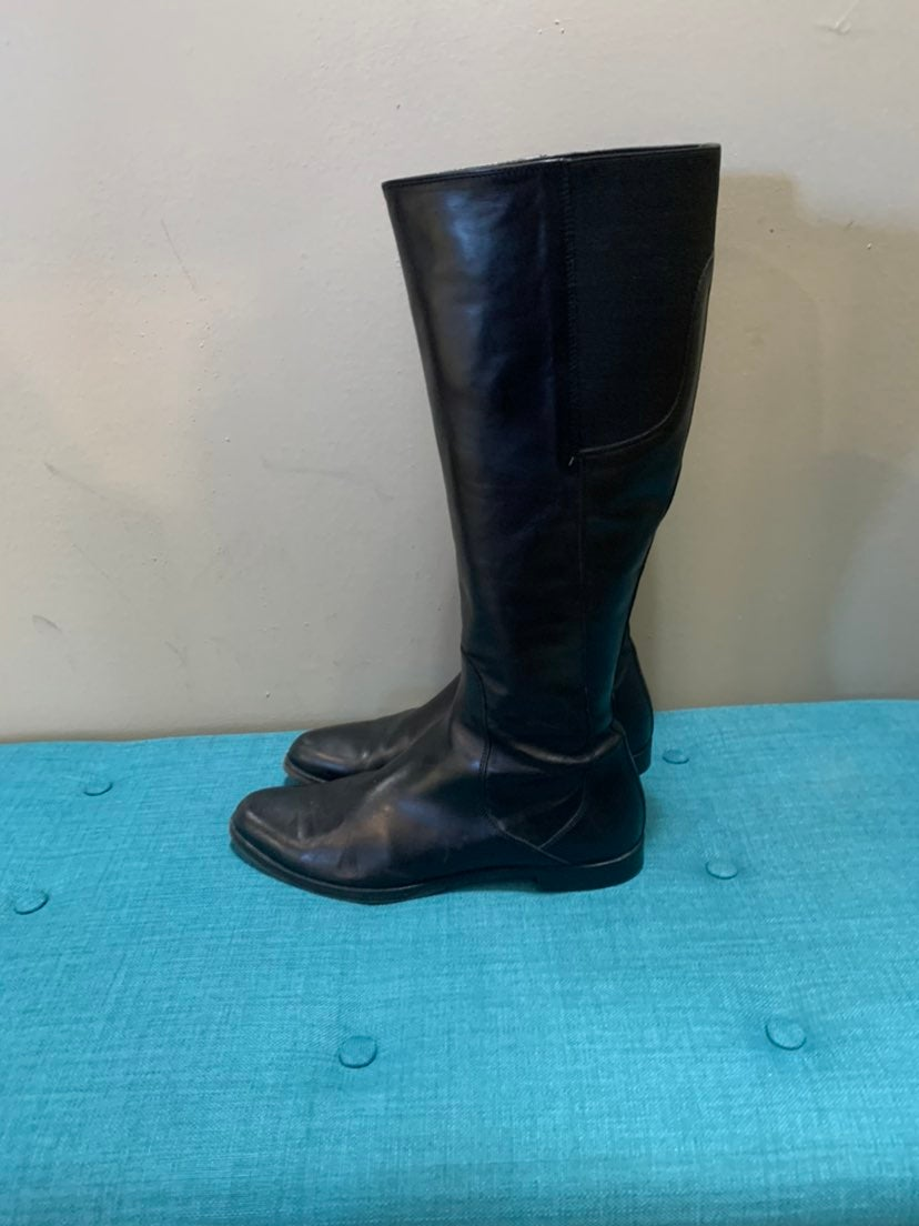 AGL Black Leather Knee High Boots