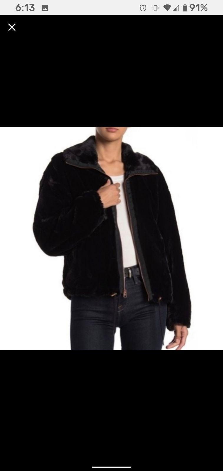 Lucky Brand Black Faux Fur Teddy Bomber